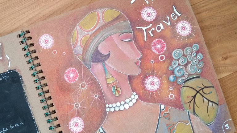 Art journal page: time travel